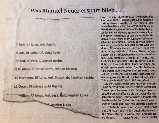 Немцы обнародовали шпаргалку Нойера на серию пенальти с бразильцами